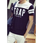 Buy Slimming Letter Print Color Block Splicing Men's Round Neck Short Sleeve T-Shirt XL WHITE AND BLACK