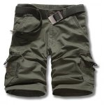 Buy Military Uniform Style Straight Leg Loose Fit Multi-Pocket Zipper Fly Men's Plus Size Shorts 32 ARMY GREEN
