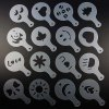 Coffee Stencils Template Strew Pad Duster Spray Art DIY Tool 16Pcs Pattern Mold