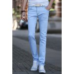 Buy Light blue Simple Narrow Feet Fitted Pockets Sutures Design Solid Color Zipper Fly Men's Jeans-15.69 Online Shopping GearBest.com