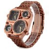 Shiweibao J1108 Bronzed Case Dual Time Male Quartz Watch with Compass Stainless Steel Band