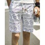 Buy Summer Necessary Straight Leg Loose Fit Ethnic Print Lace-Up Men's Cotton+Linen Shorts M COLORMIX