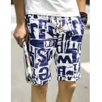 Buy Loose-Fitting Straight Leg Irregular Letters Pattern Lace-Up Men's Cotton+Linen Printed Shorts 2XL COLORMIX