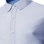 Fashion Shirt Collar Polka Dots Print Slimming Long Sleeve Cotton Blend Shirt For Men deal