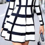 Trendy Round Neck Long Sleeve Plaid Dress For Women deal