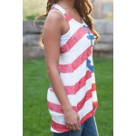 Stylish Scoop Collar Sleeveless Striped Anchor Print Women's Tank Top deal