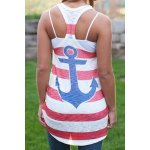 Stylish Scoop Collar Sleeveless Striped Anchor Print Women's Tank Top for sale
