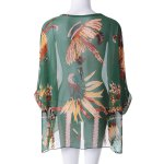 Batwing Sleeves Feather Print Casual Flowy Blouse deal