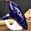 cheap 12 Holes Ocarina Ceramic Alto C Legend of Zelda Ocarina Flute Blue Instrument