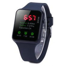 HZ56 Decorative Icon LED Sports Watch with Red Digital Rubber Band