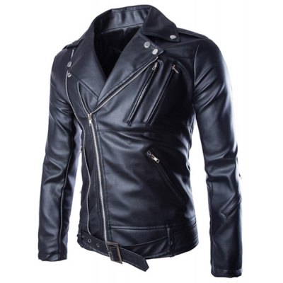 Trendy Lapel Slimming Solid Color Multi-Zipper Long Sleeve PU Leather Jacket For Men(with Belt)