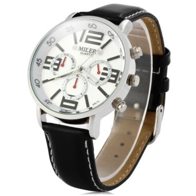 Miler A8275 Big Scale Leather Strap Male Quartz Watch with Decorative Sub-dialsMens Watches<br>Miler A8275 Big Scale Leather Strap Male Quartz Watch with Decorative Sub-dials<br><br>Brand: Miler<br>Watches categories: Male table<br>Watch style: Fashion<br>Available color: Black, White, Brown<br>Movement type: Quartz watch<br>Shape of the dial: Round<br>Display type: Analog<br>Case material: Stainless steel<br>Band material: Leather<br>Clasp type: Pin buckle<br>Special features: Decorating small sub-dials<br>The dial thickness: 1.0 cm / 0.39 inches<br>The dial diameter: 4.2 cm / 1.65 inches<br>The band width: 1.8 cm / 0.71 inches<br>Wearable Length:: 19.5 - 23.7 cm / 7.68 - 9.33 inches<br>Product weight: 0.044 kg<br>Package weight: 0.094 kg<br>Product size (L x W x H): 25.8 x 4.2 x 1 cm / 10.14 x 1.65 x 0.39 inches<br>Package size (L x W x H): 26.8 x 5.2 x 2 cm / 10.53 x 2.04 x 0.79 inches<br>Package Contents: 1 x Miler A8275 Watch