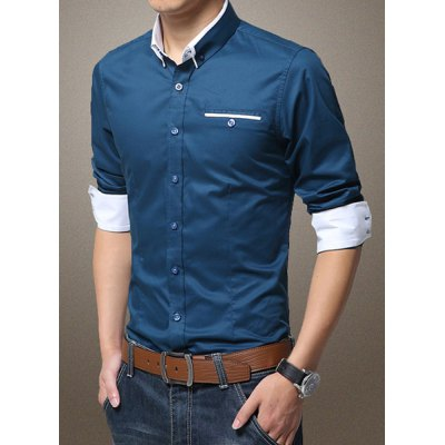Гаджет   Fashion Fitted Turn-down Collar Breast Pocket Color Block Long Sleeves Men