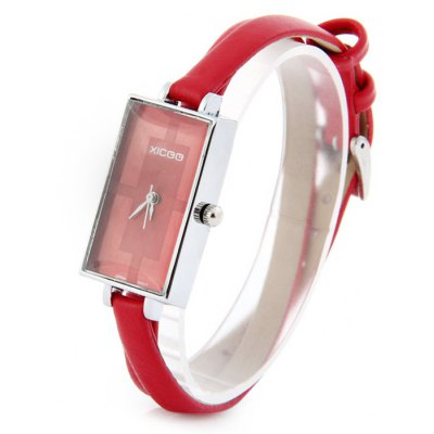 Xicoo 161 Ladies Rectangle Dial Japan Quartz Watch with Long Narrow Leather Strap