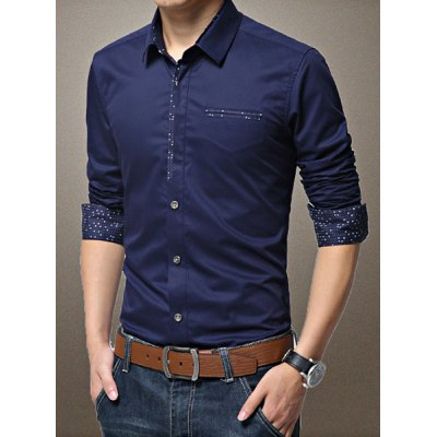 Гаджет   Classic Print Spliced Fake Pocket Turn-down Collar Fitted Long Sleeves Men