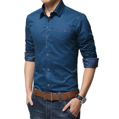 ФОТО Classic Print Spliced Fake Pocket Turn-down Collar Fitted Long Sleeves Men