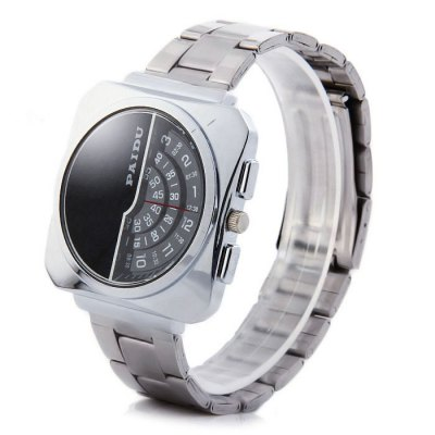Paidu 58913 Japan Movt Male Quartz Watch Rotational Scale Wristwatch with Steel BandMens Watches<br>Paidu 58913 Japan Movt Male Quartz Watch Rotational Scale Wristwatch with Steel Band<br><br>Brand: Paidu<br>Watches categories: Male table<br>Watch style: Fashion<br>Available color: Black, White, Black and White<br>Movement type: Quartz watch<br>Shape of the dial: Rectangle<br>Display type: Analog<br>Case material: Stainless steel<br>Band material: Steel<br>Clasp type: Folding clasp with safety<br>The dial thickness: 0.8 cm / 0.31 inches<br>The dial diameter: 4.0 cm / 1.57 inches<br>The band width: 1.8 cm / 0.71 inches<br>Product weight: 0.075 kg<br>Package weight: 0.125 kg<br>Product size (L x W x H): 14 x 4 x 0.8 cm / 5.50 x 1.57 x 0.31 inches<br>Package size (L x W x H): 15 x 5 x 1.8 cm / 5.90 x 1.97 x 0.71 inches<br>Package Contents: 1 x Paidu 58913 Watch