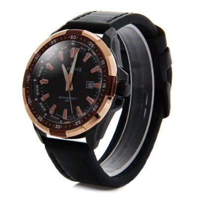 ФОТО Naviforce 9056 Water Resistance Male Japan Quartz Watch with Date Display Genuine Leather Band