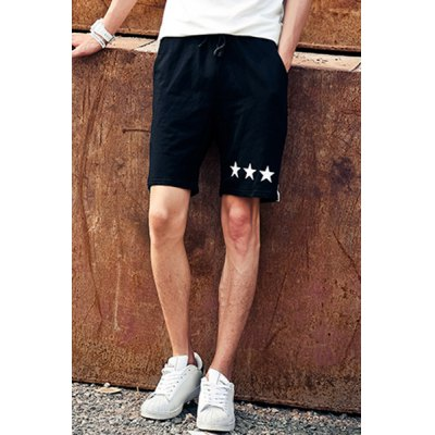 Гаджет   Slimming Stylish Star Print Side Vertical Stripe Lace-Up Men
