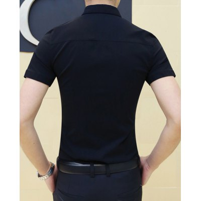 Гаджет   Fashion Shirt Collar Simple Letters Embroidered Slimming Short Sleeve Polyester Shirt For Men Shirts