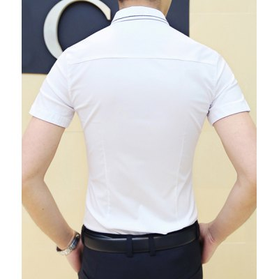 Гаджет   Stylish Shirt Collar Retro Totem Embroidered Slimming Short Sleeve Polyester Shirt For Men Shirts