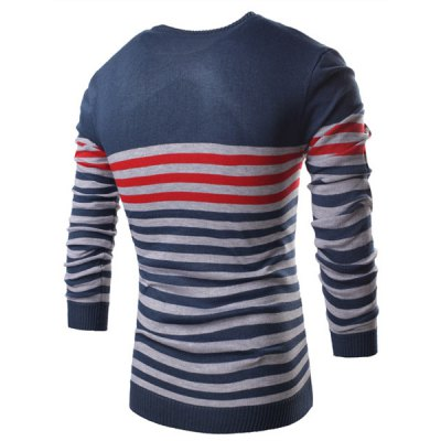 Гаджет   Stylish V-Neck Stars and Stripes Pattern Slimming Long Sleeve Polyester Sweater For Men Sweaters & Cardigans