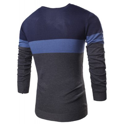 Гаджет   Vogue V-Neck Three Color Stitching Slimming Long Sleeve Polyester Sweater For Men Sweaters & Cardigans