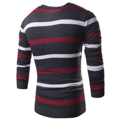 Гаджет   Trendy V-Neck Colorful Stripes Splicing Slimming Long Sleeve Polyester Sweater For Men Sweaters & Cardigans