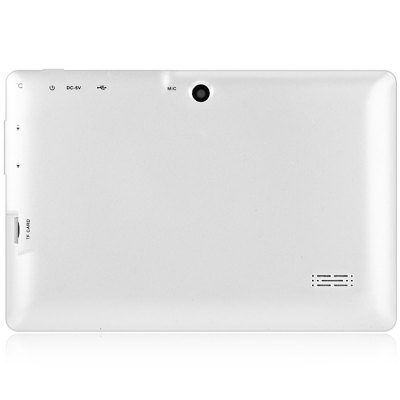 Q88H 7 inch Android 4.4 Tablet PCFeatured Tablets<br>Q88H 7 inch Android 4.4 Tablet PC<br><br>Type: Tablet PC<br>OS: Android 4.4<br>CPU Brand: All Winner<br>CPU: A33<br>GPU: Mali-400 MP<br>Core: Quad Core,1.3GHz<br>RAM: 512MB<br>ROM: 8GB<br>WIFI: 802.11b/g/n wireless internet<br>Support Network: WiFi<br>Bluetooth: Yes<br>Screen type: Capacitive (5-Point)<br>Screen size: 7 inch<br>Screen resolution: 800 x 480 (WVGA)<br>Camera type: Dual cameras (one front one back)<br>Back camera: 0.3MP<br>Front camera: 0.3MP<br>TF card slot: Yes<br>Micro USB Slot: Yes<br>DC Jack: Yes<br>3.5mm Headphone Jack: Yes<br>Battery Capacity: 3000mAh<br>Battery / Run Time (up to): 3 hours video playing time<br>AC adapter: 100-240V 5V 2A<br>G-sensor: Supported<br>Skype: Supported<br>Youtube: Supported<br>Speaker: Supported<br>MIC: Supported<br>Picture format: JPEG,GIF,BMP,PNG<br>Music format: WMA,AAC,MP3,OGG,WAV<br>Video format: 3GP,AVI,MP4,RMVB,WMV<br>MS Office format: Word,Excel,PPT<br>E-book format: TXT,PDF<br>3D Games: Supported<br>Languages: English,French,Spanish,Portuguese,Russian,German,Italian,Dutch<br>Note: If you need any specific language other than English and you must leave us a message when you checkout<br>Additional Features: MP4,MP3,Wi-Fi,Bluetooth,Browser,E-book,WAP,Sound Recorder,Calendar,Calculator,Gravity Sensing System<br>Product size: 18.3 x 12 x 0.8 cm / 7.19 x 4.72 x 0.31 inches<br>Package size: 24 x 16 x 6 cm / 9.43 x 6.29 x 2.36 inches<br>Product weight: 0.285 kg<br>Package weight: 0.530 kg<br>Tablet PC: 1<br>OTG Cable: 1<br>Charger: 1<br>USB Cable: 1<br>English Manual : 1