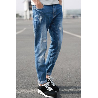 Гаджет   Fitted Trendy Narrow Feet Hole and Sutures Design Destroy Wash Zipper Fly Men