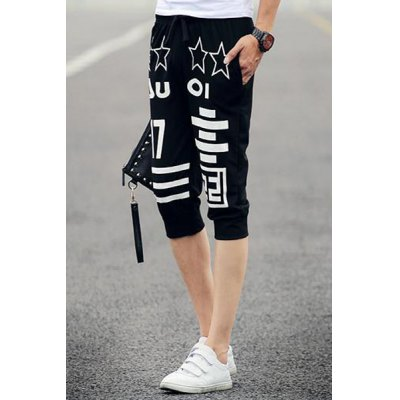 Гаджет   Slimming Fashion Lace-Up Five-Point Star Stripe Pattern Beam Feet Men