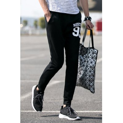Гаджет   Slimming Stylish Lace-Up Letter and Number Print Beam Feet Men