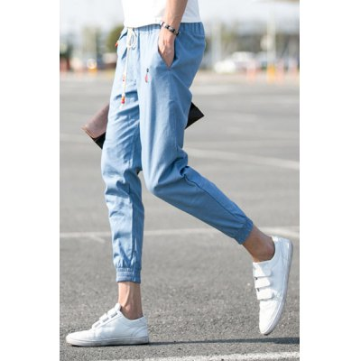 Slimming Fashion Lace-Up Sutures Design Embroidered Beam Feet Men's Linen Blend Nine Minutes of Pants от GearBest.com INT
