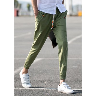 Гаджет   Slimming Fashion Lace-Up Sutures Design Embroidered Beam Feet Men