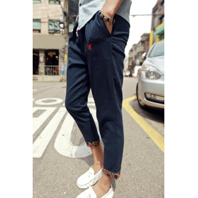 Гаджет   Loose Fit Trendy Lace-Up Embroidered Flanging Design Beam Feet Men