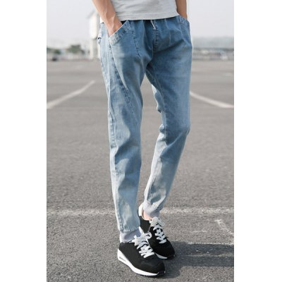 Гаджет   Casual Beam Feet Fitted Snow Wash Rib Spliced Lace-Up Elastic Waist Men