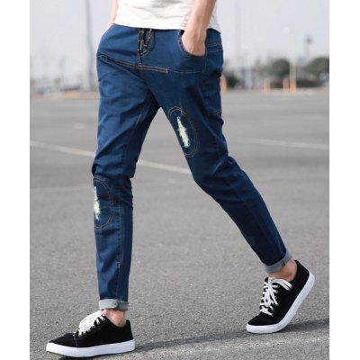 Гаджет   Ethnic Style Narrow Feet Fitted Hole and Sutures Design Elastic Waist Lace-Up Men