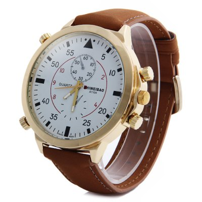 Shiweibao A1104 Nubuck Leather Band Male Quartz Watch with Decorative Sub-dials Big Dial