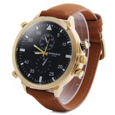 Гаджет   Shiweibao A1104 Nubuck Leather Band Male Quartz Watch with Decorative Sub-dials Big Dial Men