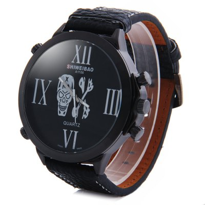 Shiweibao A1106 Big Dial Skull Pattern Male Quartz Watch with Embossed Leather StrapMens Watches<br>Shiweibao A1106 Big Dial Skull Pattern Male Quartz Watch with Embossed Leather Strap<br><br>Brand: Shiweibao<br>Watches categories: Male table<br>Watch style: Fashion<br>Available color: Gold, Gold and Black, Gold and Red, Black, White, Red<br>Movement type: Quartz watch<br>Shape of the dial: Round<br>Display type: Analog<br>Case material: Stainless steel<br>Band material: Leather<br>Clasp type: Pin buckle<br>The dial thickness: 1.0 cm / 0.39 inches<br>The dial diameter: 6.0 cm / 2.36 inches<br>The band width: 2.2 cm / 0.87 inches<br>Wearable Length:: 20 - 24 cm / 7.87 - 9.45 inches<br>Product weight: 0.078 kg<br>Package weight: 0.128 kg<br>Product size (L x W x H): 27 x 6 x 1 cm / 10.61 x 2.36 x 0.39 inches<br>Package size (L x W x H): 28 x 7 x 2 cm / 11.00 x 2.75 x 0.79 inches<br>Package Contents: 1 x Shiweibao A1106 Watch