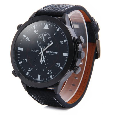 Гаджет   Shiweibao A1104 Big Dial Male Quartz Watch with Embossed Leather Strap Decorative Sub-dials Men