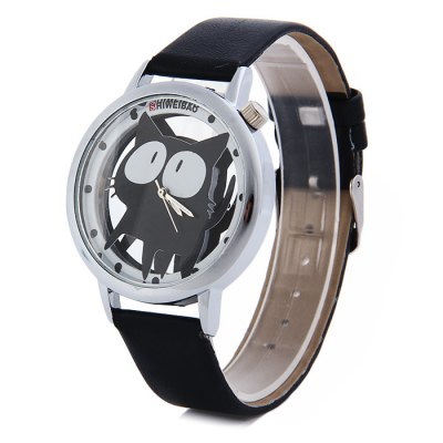 Гаджет   Shiweibao A7741 Cat Pattern Transparent Dial Female Quartz Watch with Leather Band