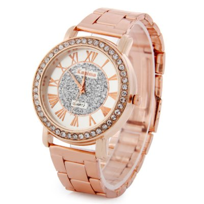 Kanima Diamond Ladies Golden Color Quartz Watch with Stainless Steel Band
