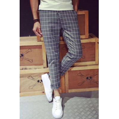 Гаджет   Casual Narrow Feet Fitted Color Block Plaid Print Lace-Up Men
