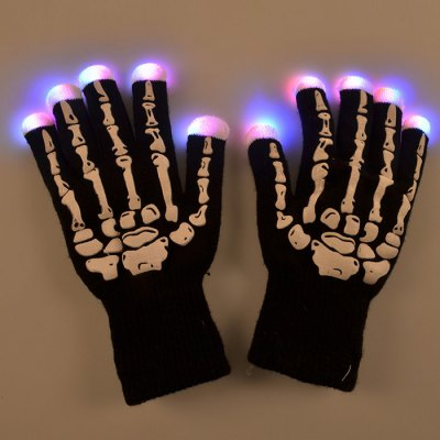 LED Light Skeleton Pattern Gloves for Party Cycling Finger Lighting 7 Modes Warm Keeping