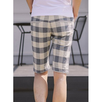 ФОТО Slimming Stylish Lace-Up Color Block Checked Rib Splicing Straight Leg Men