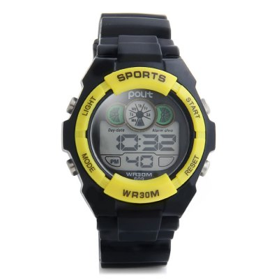 Фотография Polit 609 Water Resistance Children LED Watch with Date Day Alarm Stopwatch Function Rubber Band
