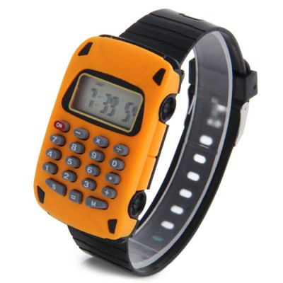 Car Shape Calculator LED Watch with Date Display Rubber Band for Children