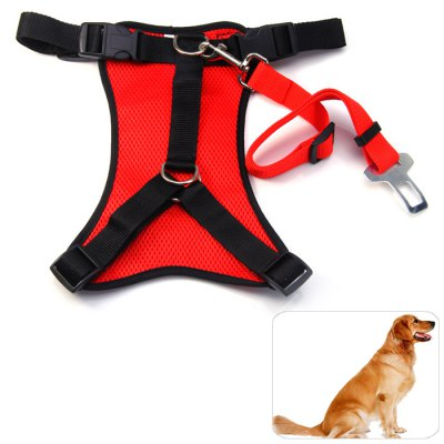 Dog Leash Safety Net Chest Harness Set with Seat Belts for Outdoor ( S Size )