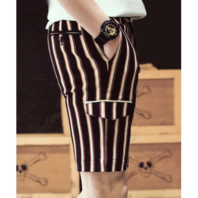 Гаджет   Slimming Fashion Multicolor Stripes Pockets Design Straight Leg Men